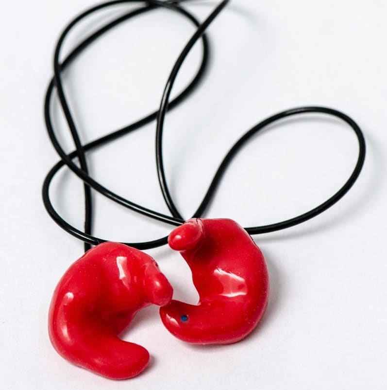 Photo of a set of wired custom hearing devices